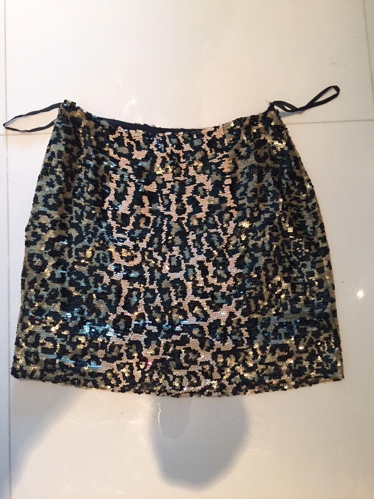 Vintage Leopard Sequin Skirt By Oleg Cassini Small Medium