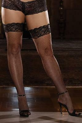 Stay-UP Fishnet Thigh Highs with Backseam. Plus SizeThigh Highs. DG-0001X