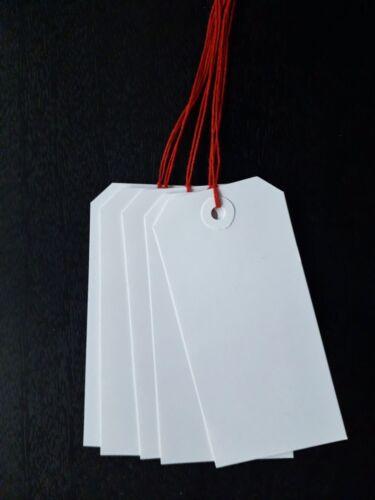 25 Blanc Luggage Tags 120 mm x 60 mm Cadeau Étiquettes cravate billets Avec Rouge String