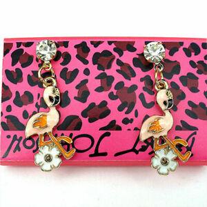 Betsey-Johnson-Fashion-Enamel-Pink-Flamingo-Flowers-Rhinestone-Stud-Earrings