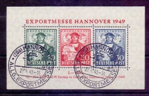 Bizone-1949-Exportmesse-Block-1-mit-Ersttagsstempel-Michel-250-00-961