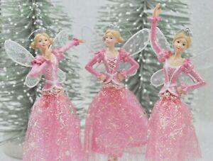 Gisela-Graham-Natale-Resina-Tessuto-Rosa-Fata-Principessa-Decorazione