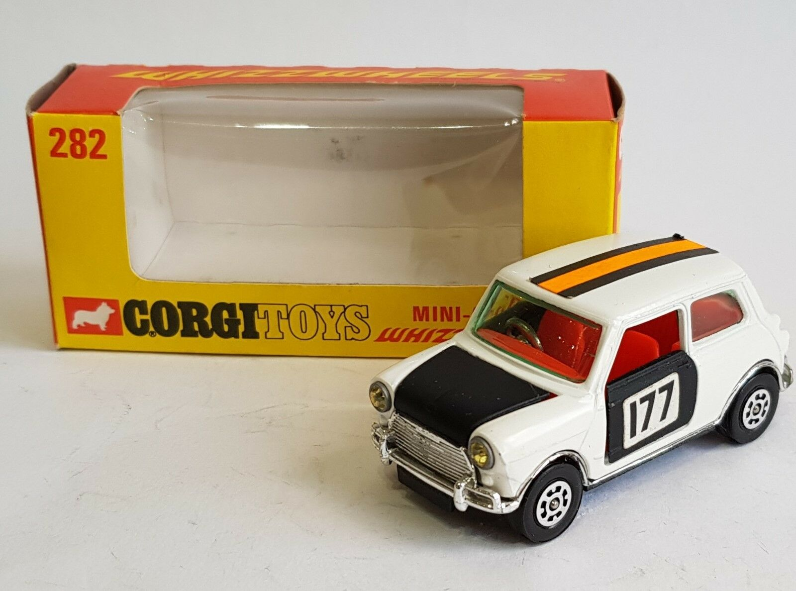 Very Rare bluee Screen, Corgi Toys 282, Mini-Cooper 'Whizzwheels', - Superb Mint.