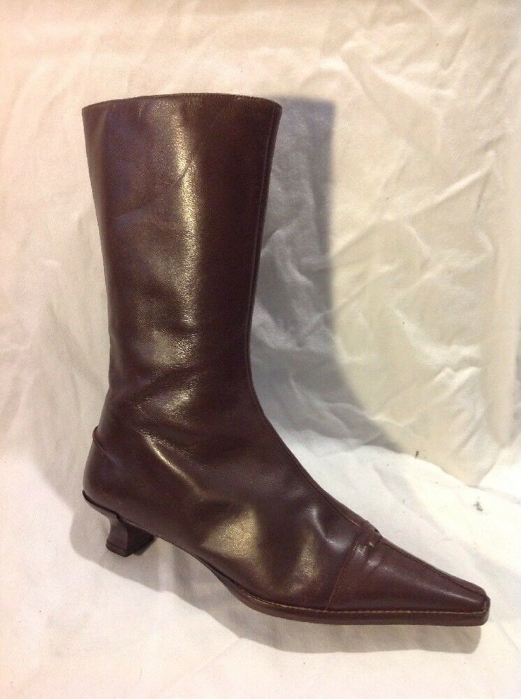 Fluxa Brown Mid Calf Leather Boots Size 36