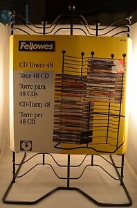 Brand-New-Fellowes-48-CD-Tower-Metal-16-034-x12-034