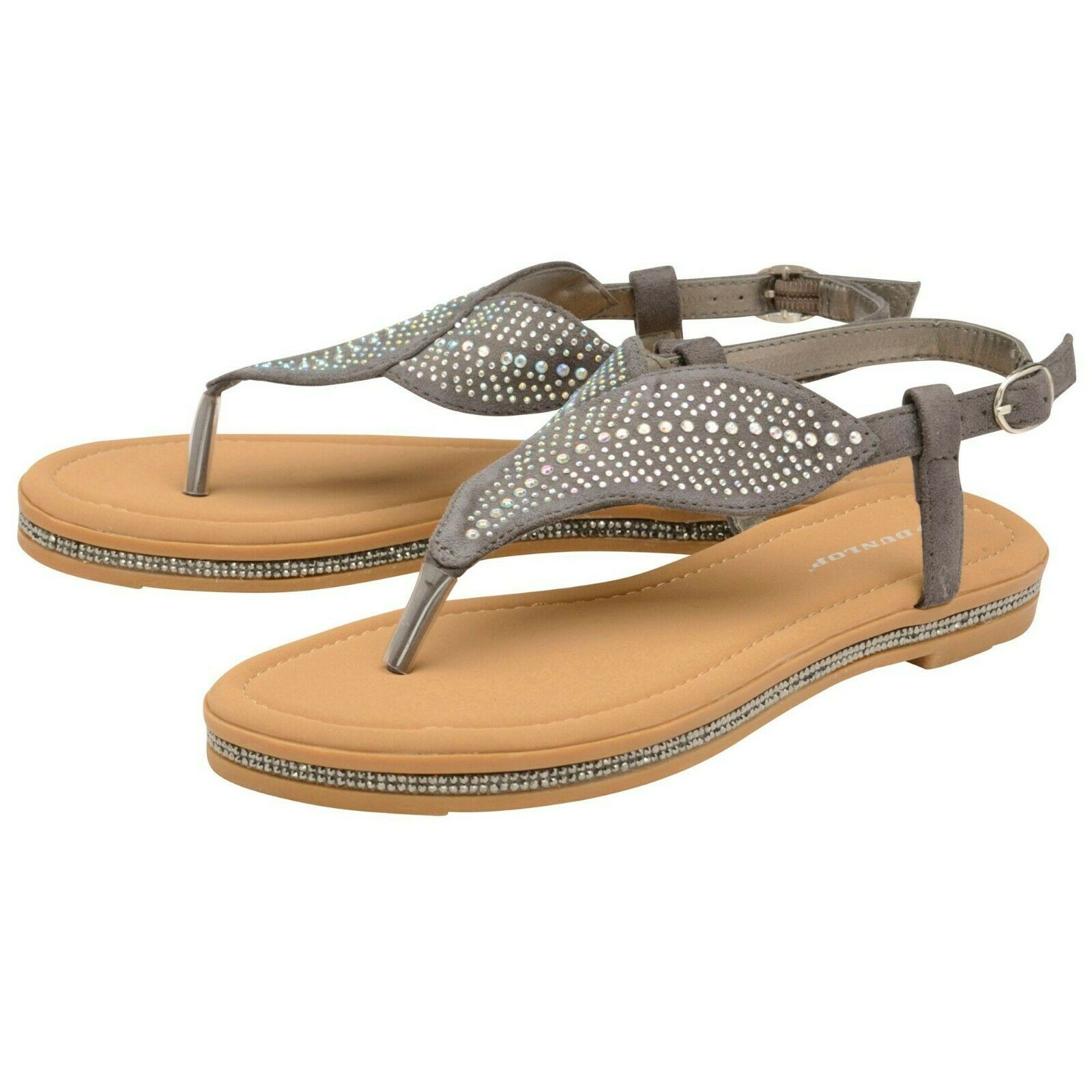 Womens Dunlop AMY Sling Back Diamonte Sandals (GREY)