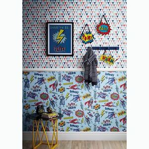 Details about SUPERHERO WALLPAPER BLUE - ARTHOUSE 696200 BOYS BEDROOM