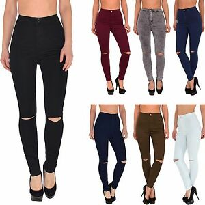 damen high waist jeans hose risse am knie jeanshose r hrenjeans bergr e j184 ebay. Black Bedroom Furniture Sets. Home Design Ideas