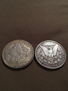 Morgan silver dollar & PEACE silver dollar For1 novelty coin Fantasy nonMagnetic