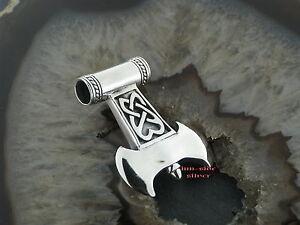 Ketten Anhänger Celtic Thors Hammer Mjölnir Thor Doppelaxt Keltisch Silber 925 Schrumpffrei Edelmetall Ohne Steine Halsketten & Anhänger