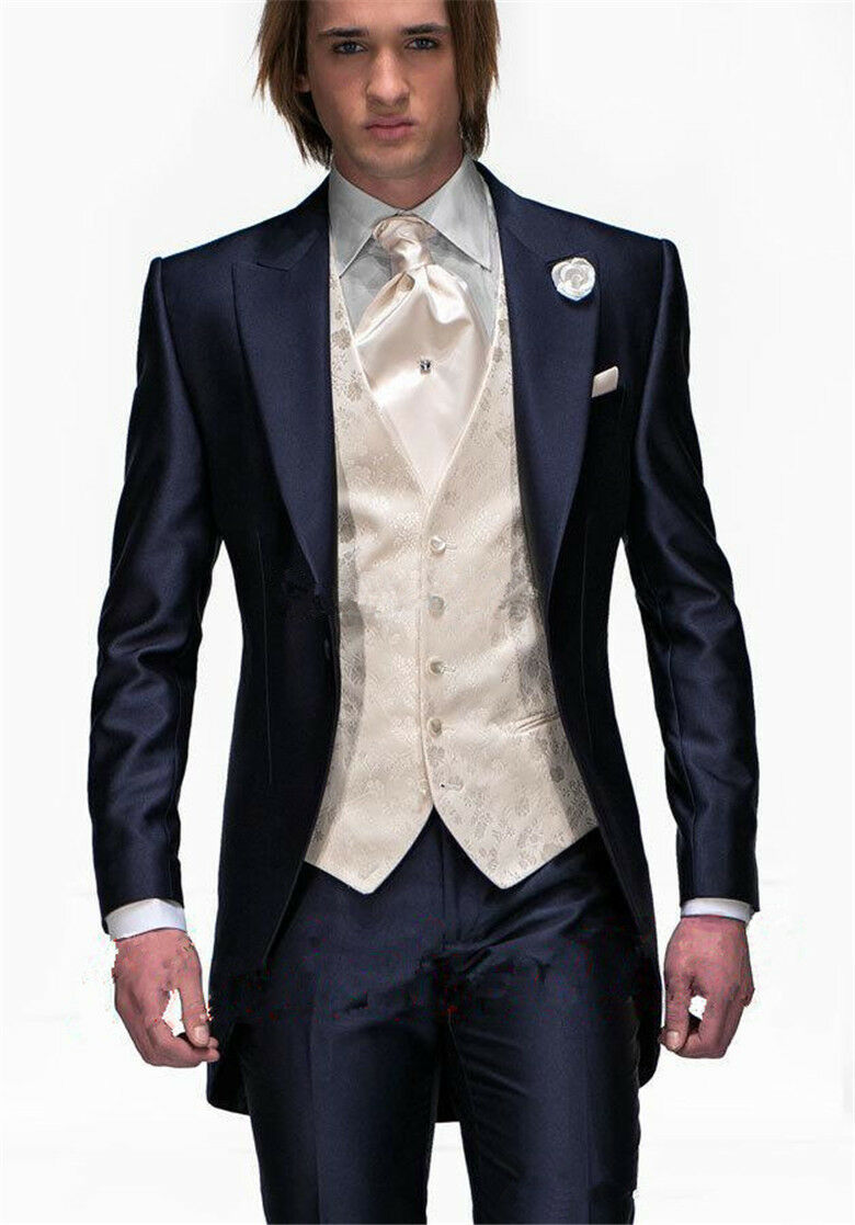 Mens Navy bluee Tailcoat 3 Piece Tuxedo Groom Formal Wedding Prom Suits Tailored