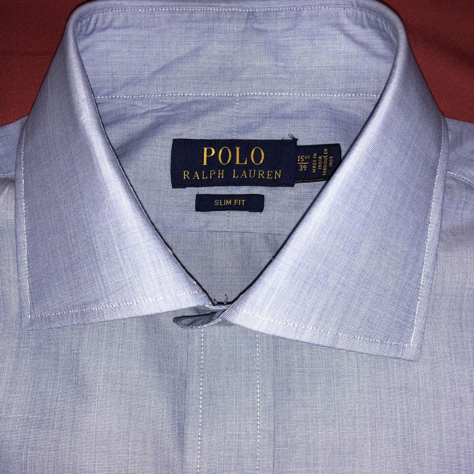 6bdf7f6a Ralph Lauren Mens Long Sleeve Slim Fit bluee White 15.5
