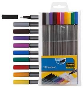 Idena-10-Fineliner-Fine-Liner-Stifte-Feinminenstifte-10-Farben-bunt-farbig-0-4mm