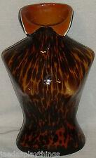 "Art Glass Torso Vase Chest Shirt Female 12"" LARGE Bust Splatter Lady Sculpture"