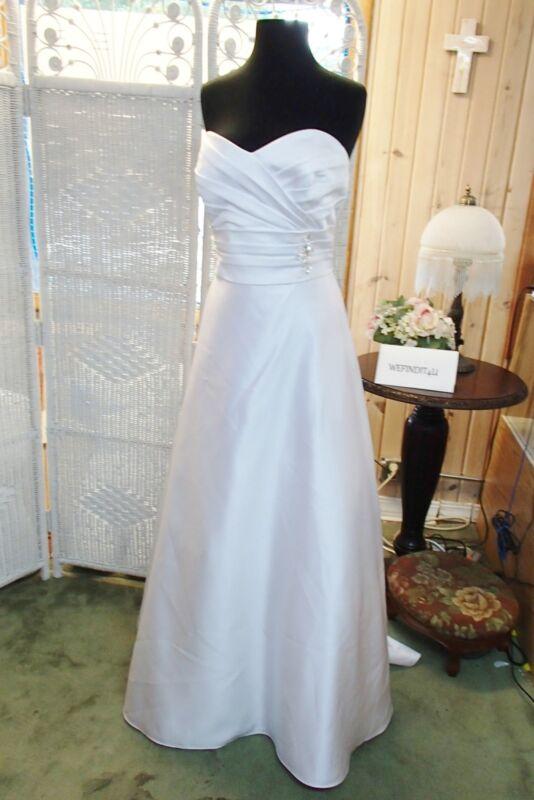 619 Alfred Angelo 2381 Sz 16 Weiß Trägerlos Hochzeit Braut Kleid Auswahlmaterialien