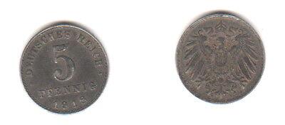 5 Pfennig 1918 A Deutsches Reich - Sehr Hübsche Original Münze - B111