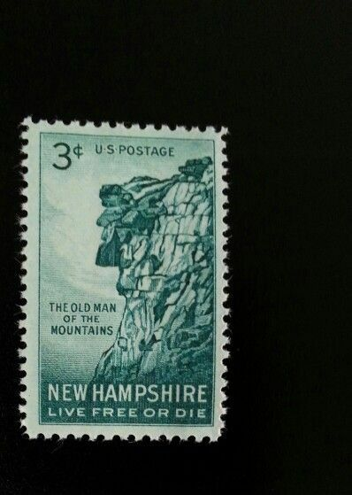 1955 3c Old Man of the Mountains, New Hampshire Scott 1
