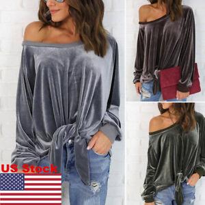 US Women Off Shoulder Velvet Hoodie Sweatshirt Long Sleeve Pullover Tops Lace Up