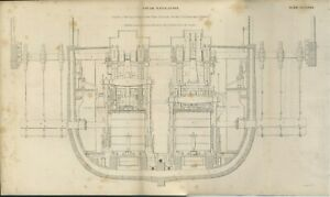 Antique-STEAM-NAVIGATION-engraving-print-date-1842-ROYAL-MAIL-STEAM-SHIPS-2