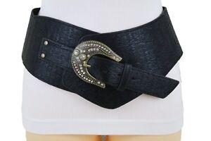 Women Black Faux Leather Belt Bling Buckle Wide Western Celebrity Fashion S M