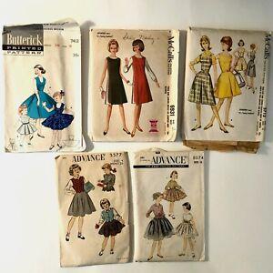 Vintage 50s CHILDREN'S & TEEN Sewing Patterns Dress Full Skirt Jumper LOT of 5