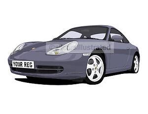 Porsche 911 996 Graphic Car Art Print Picture Size A3 Personalise