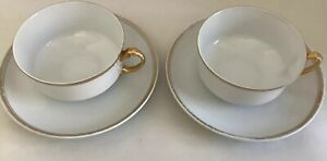 Antique-H-amp-Co-Selb-Bavaria-Set-Of-2-Tea-Cups-amp-Saucers-With-Gold-Rim-amp-Handles