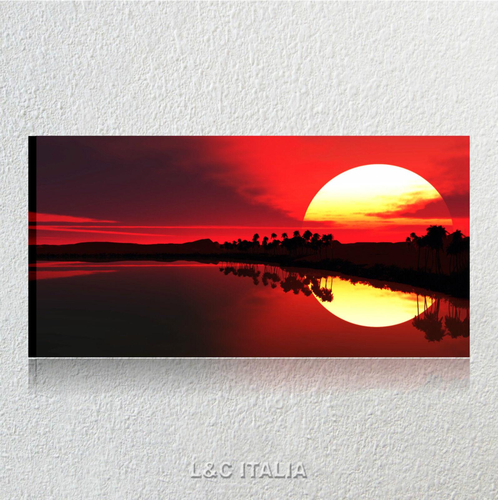 Alba rossa QUADRI MODERNI 90x45 ARrotAMENTO QUADRO PALME PAESAGGI MARE SUNSET
