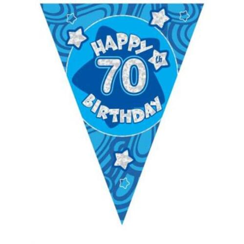 3.6m//12ft Blue Holographic 70th Birthday Flag Banner Bunting