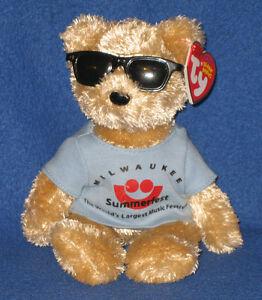 TY SUMMERFEST the BEAR BEANIE BABY - MINT with MINT TAGS
