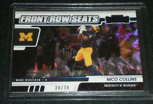 2021 Contenders Draft Front Row Seats Blue Explosion Nico Collins 30/39 Michigan