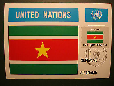 "SchöN Uno United Nations 1980:maximumkarte Mk Maximum Card ""flaggen""-suriname Ein BrüLlender Handel Maximumkarten Briefmarken"