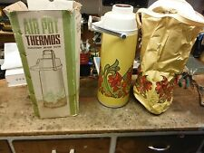 VINTAGE AIR POT VACUUM PUMP HOT COLD BEVERAGE THERMOS WITH BOX AND BAG L$$K!!