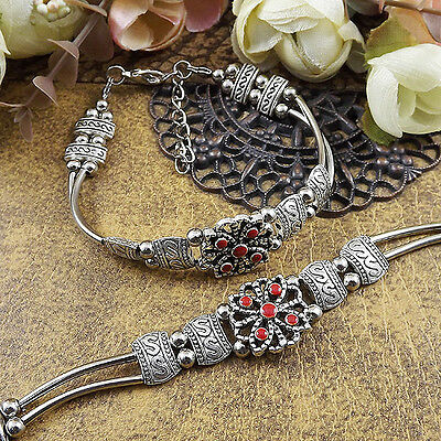free shipping NEW DIY Tibetan silver red fashion beaded bracelet  S172d