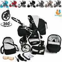 Baby Pram Stroller Pushchair Car Seat Carrycot Travel System Buggy Swivel Wheels