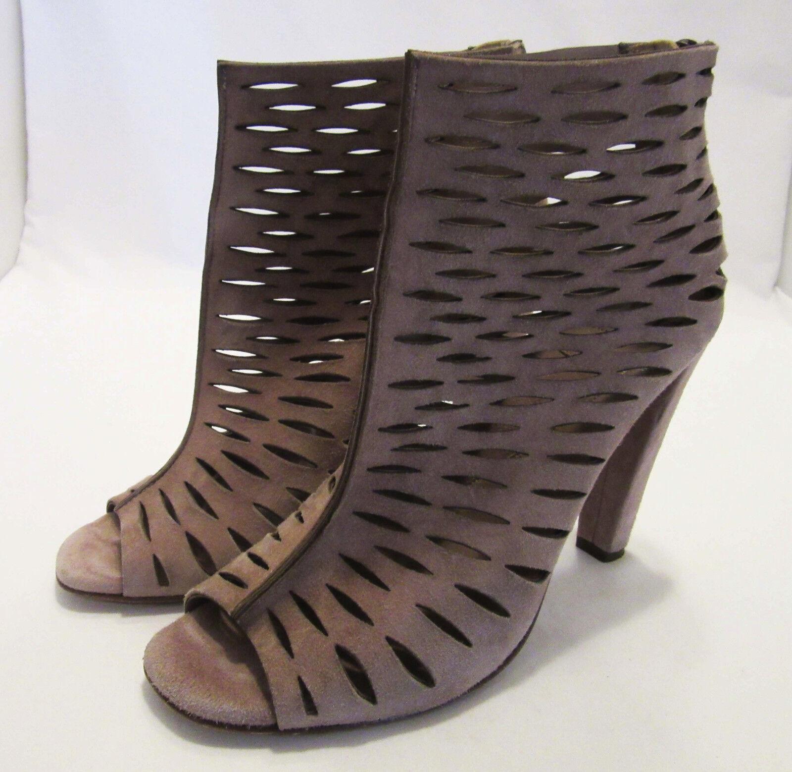 Diane von Furstenberg Brown Laser Cut Suede Ankle Boots Booties, Sz 7.5