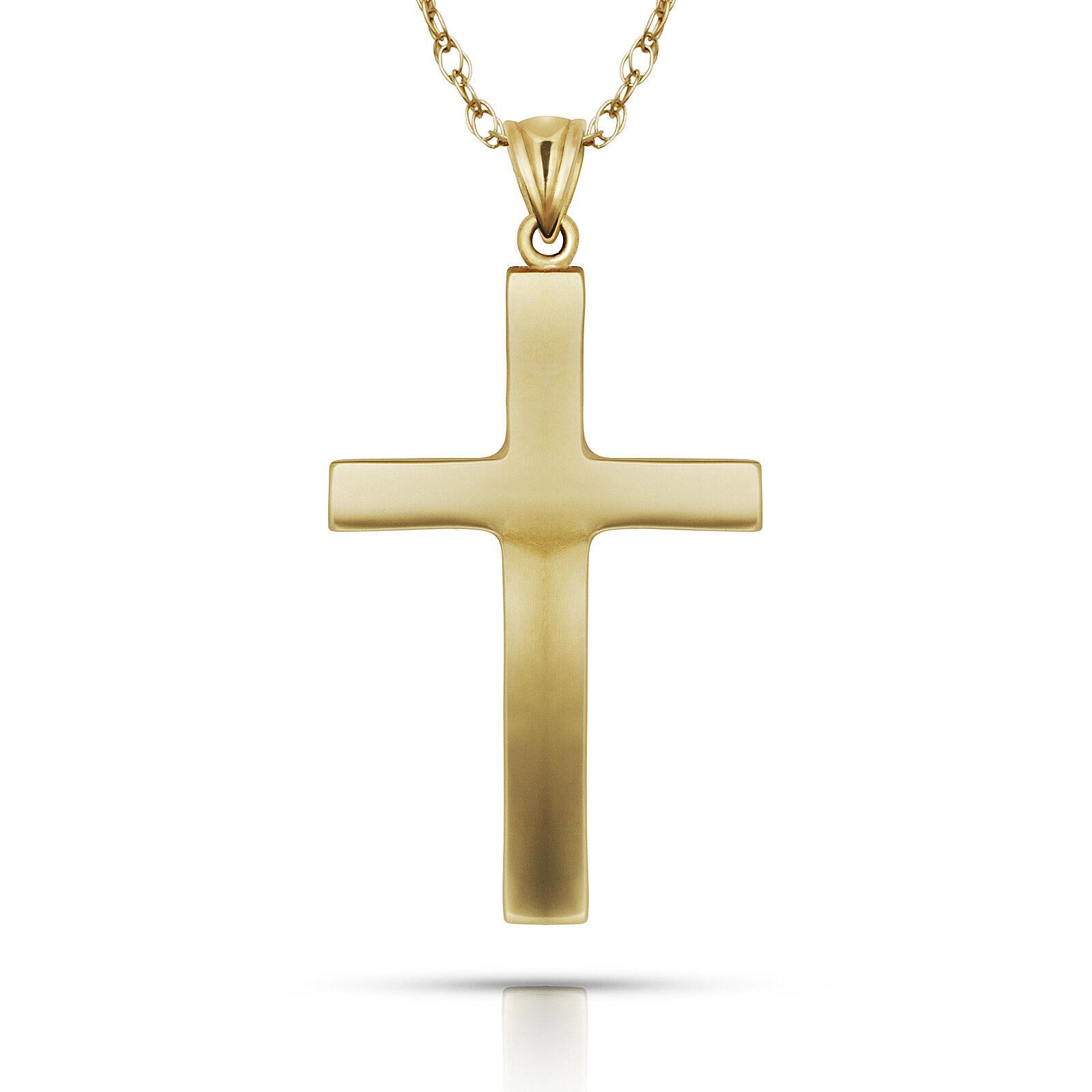 14K Yellow White gold Religious Crucifix Cross Pendant Men Women