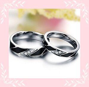 comment acheter grande remise 50% de réduction Détails sur Bague anneau alliance ACIER INOXYDABLE noir CRISTAL transparent  bijoux fantaisie