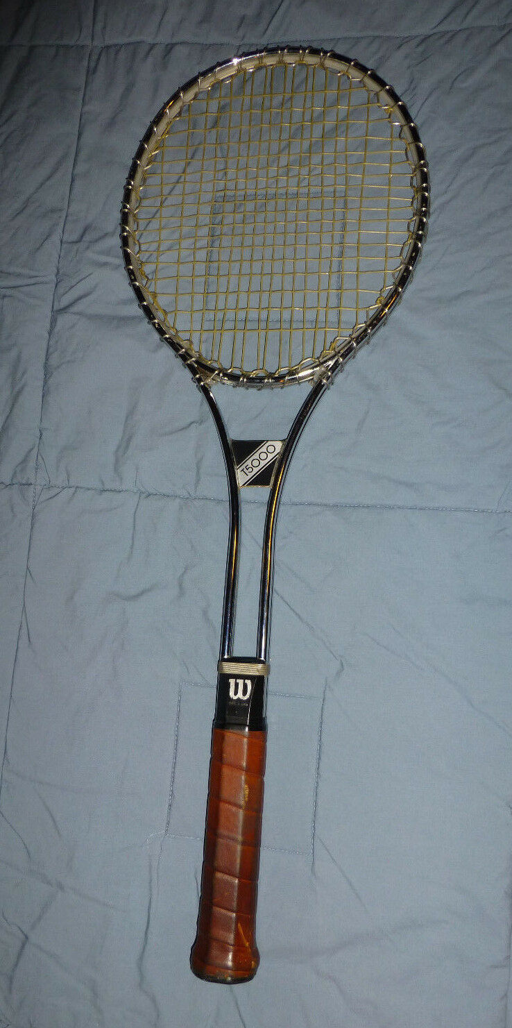 Wilson T5000 Steel Tennis Racquet  4 3 8 Leather Wrap Grip 27  Vtg 70s 80s