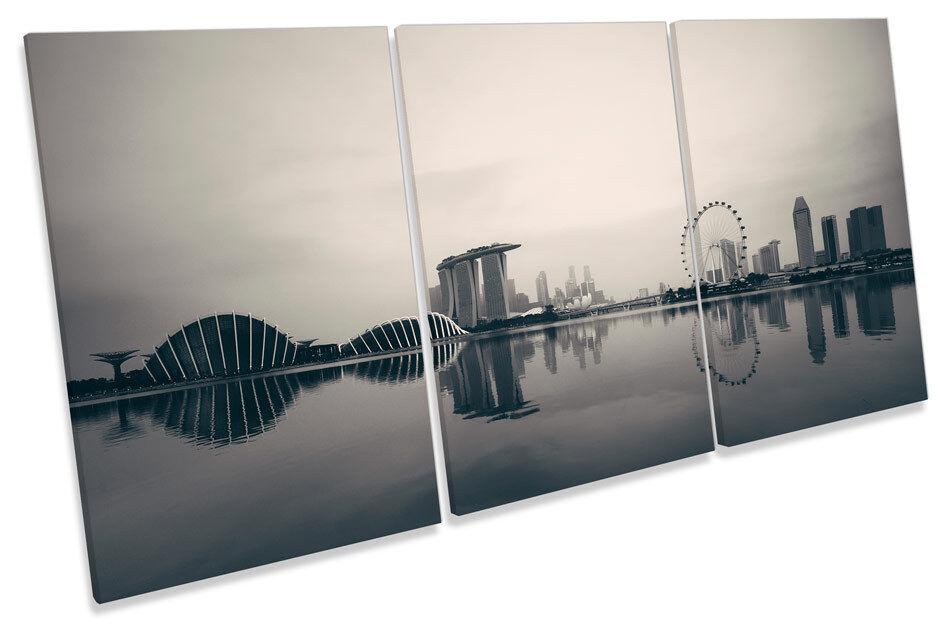 Singapore City Skyline  CANVAS WALL ART TREBLE Print Picture