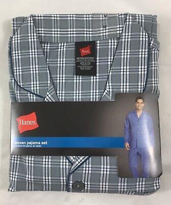 Hanes Men/'s Woven Pajama Set Long Sleeve Sleepwear 20792 Blue Checkered Size M