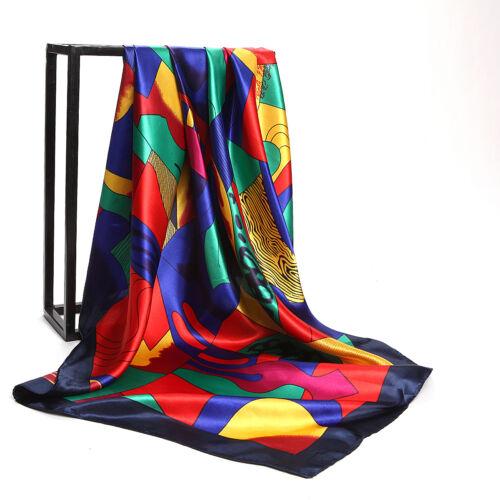 "Women/'s Fashion Print Square Head Scarves Silky Satin Hijab Wraps Scarf 35/""*35/"""