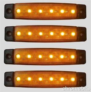 4-x-12V-12-Volt-SMD-6-LED-AMBRA-Luce-di-indicatore-laterale-rimorchio