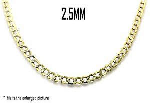 """10K Two Tone Gold 2.5mm Hollow Diamond Cut Cuban Link Chain Necklace 16""""- 26"""""""