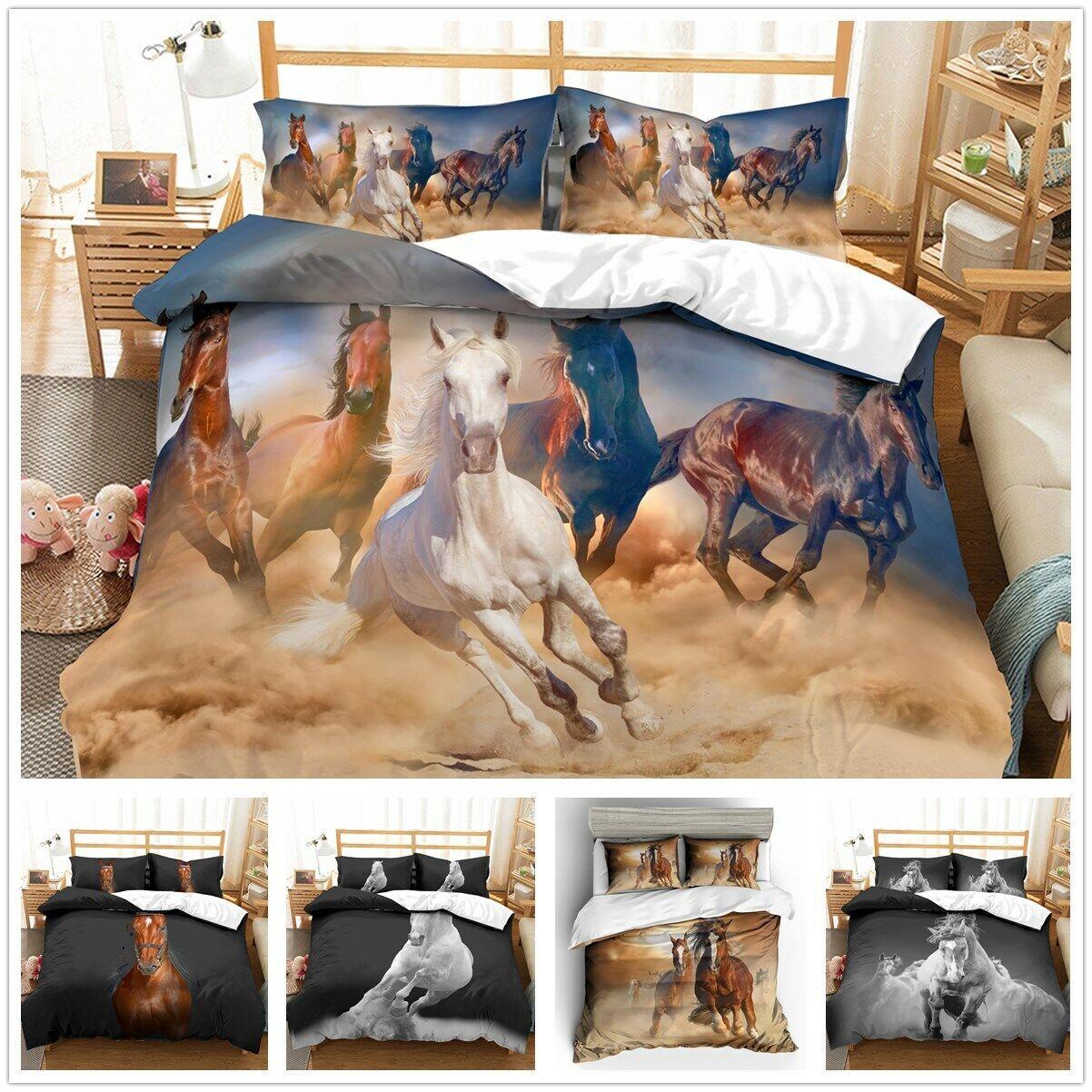 3D Animal Horse Print Duvet Cover Bedding Set Pillowcase Comforter Quilt Cover
