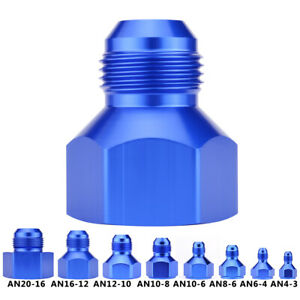 Female-to-Male-Flare-Reducer-Fitting-Fuel-Cell-Oil-Cooler-Bulkhead-Adapter-Blue