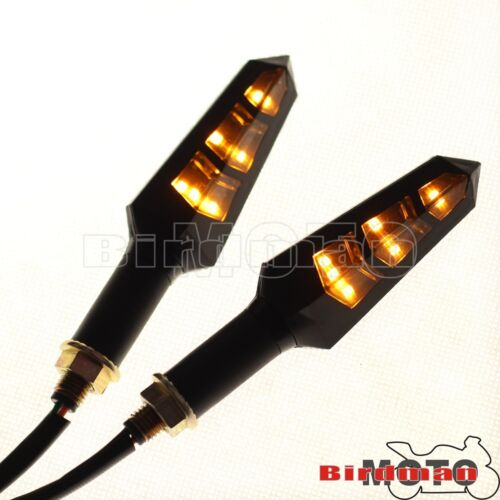 Black Motorcycle Turn Signals Blinker Amber Indicator Lights For Honda CBR400RR