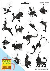 Schablone-Stencil-A4-043-1214-Animal-Charms-Neu-Heike-Schaefer-Design