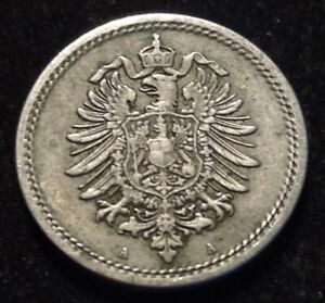1875 A 1 Pfennig Circulated Old Germany Coin