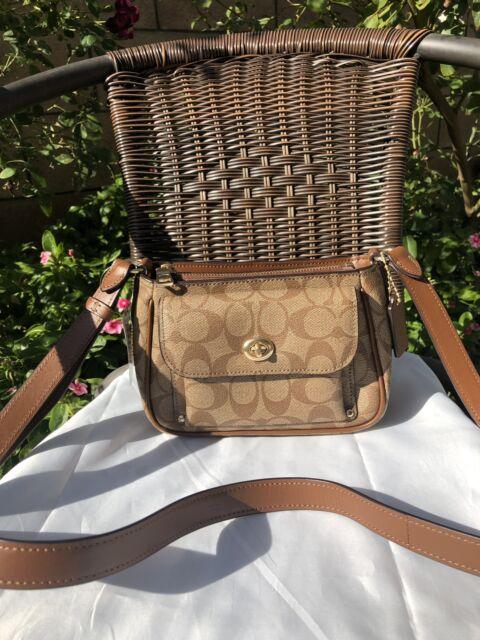 d3c96e2a250df NWT Coach F31454 Sadie Crossbody Bag in Signature Canvas Khaki Saddle  250